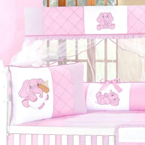 2b2d2674b8 Kit Berço Bebê Elefante Rosa 8 Peças